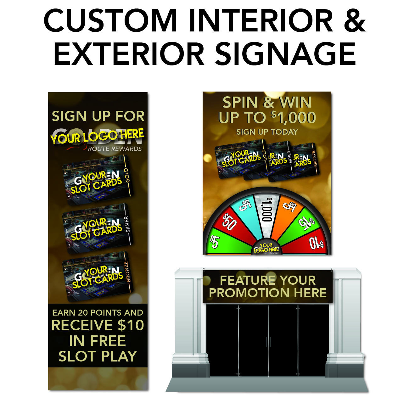 gro route rewards marketing needs custom interior and exterior signage
